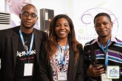 Olivier MADIBA (Co-fondateur de KIRO'O GAMES), Elisabeth Minlend, Responsable Communication (CAC International) et Jean-Yves BASSANG NA (Co-fondateur de KIRO'O GAMES)